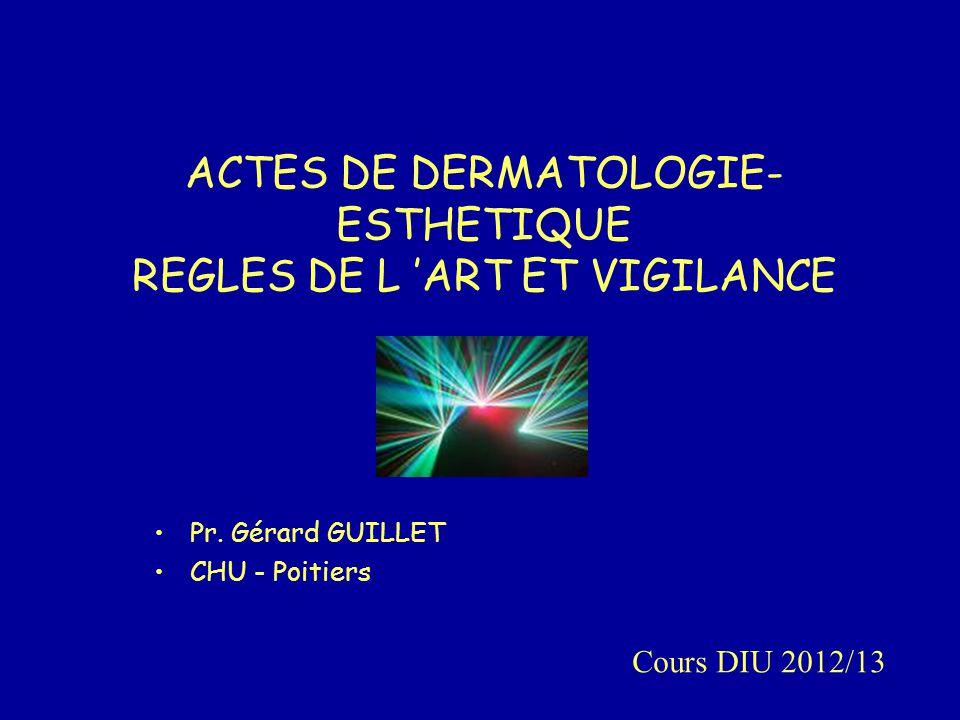 ACTES DE DERMATOLOGIE-ESTHETIQUE REGLES DE L 'ART ET VIGILANCE