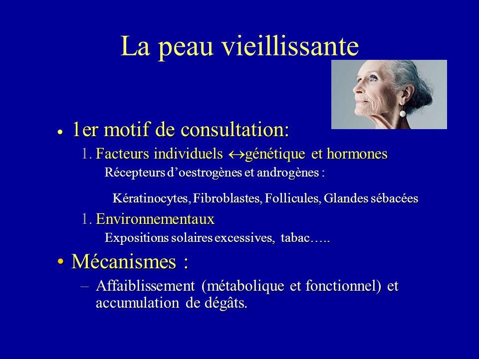 La peau vieillissante 1er motif de consultation: Mécanismes :