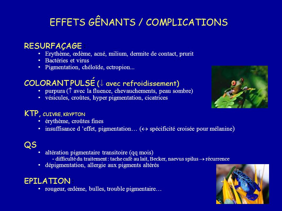 EFFETS GÊNANTS / COMPLICATIONS