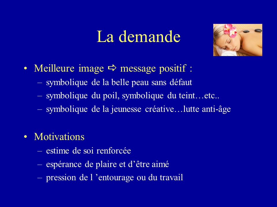 La demande Meilleure image  message positif : Motivations