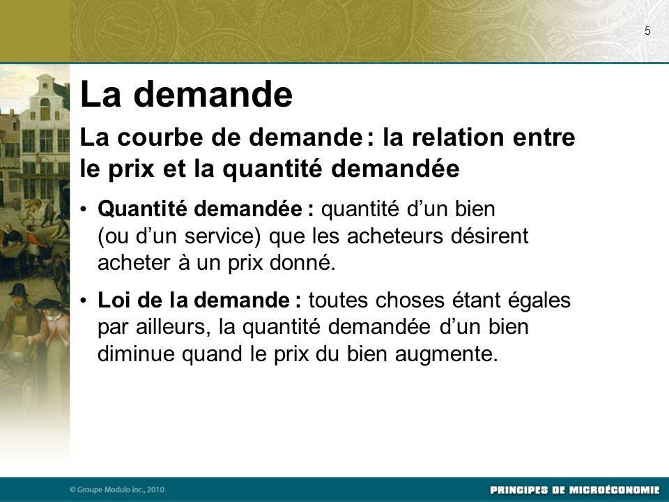 07/24/09 5. La demande. La courbe de demande : la relation entre le prix et la quantité demandée.