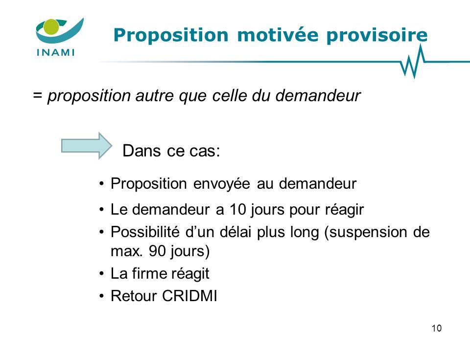Proposition motivée provisoire
