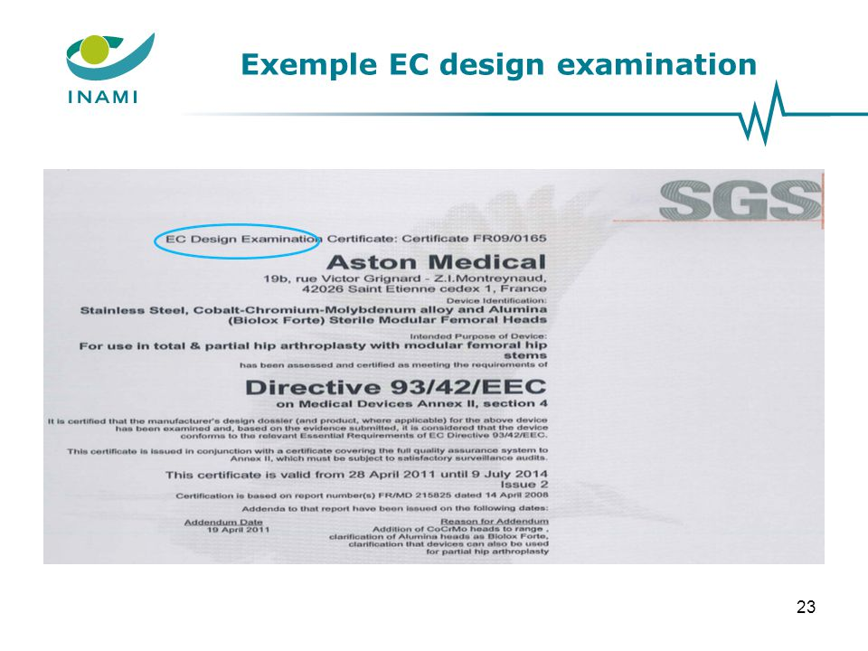 Exemple EC design examination