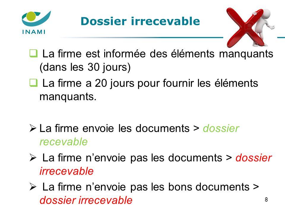 Dossier irrecevable La firme est informée des éléments manquants (dans les 30 jours) La firme a 20 jours pour fournir les éléments manquants.