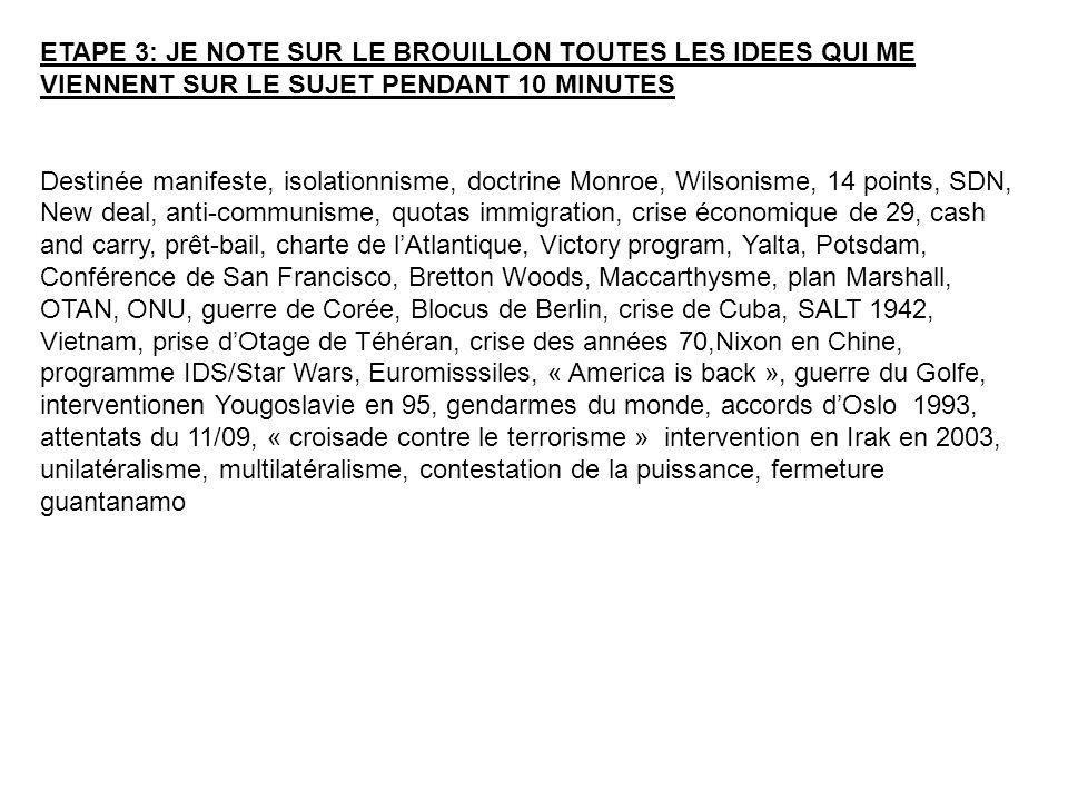 ETAPE 3: JE NOTE SUR LE BROUILLON TOUTES LES IDEES QUI ME VIENNENT SUR LE SUJET PENDANT 10 MINUTES