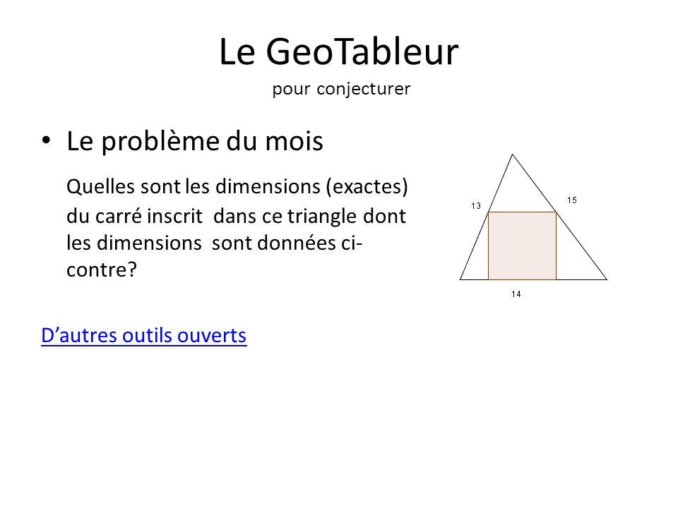 Le GeoTableur pour conjecturer