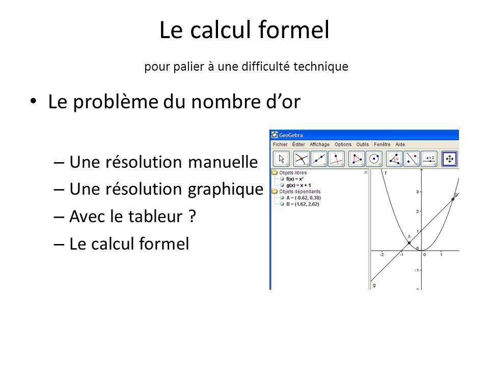 Le calcul formel pour palier à une difficulté technique