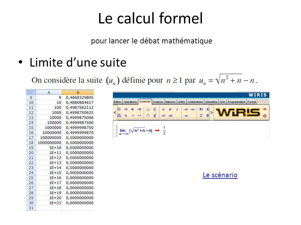 Le calcul formel pour lancer le débat mathématique