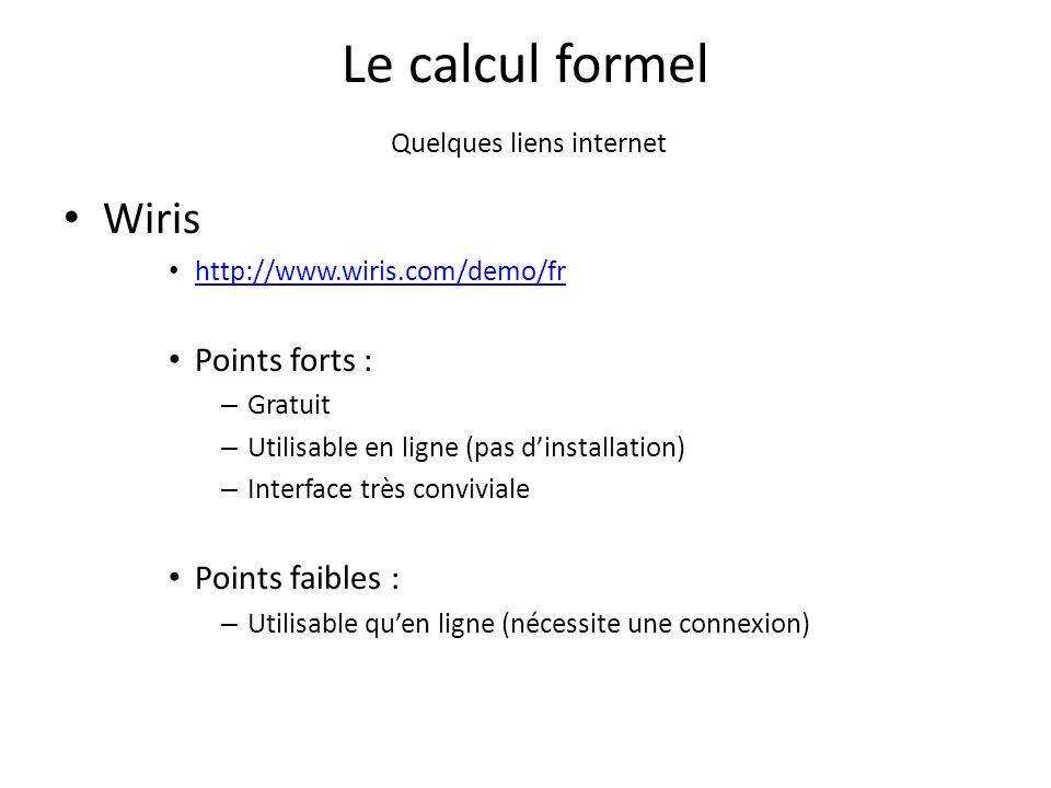 Le calcul formel Quelques liens internet