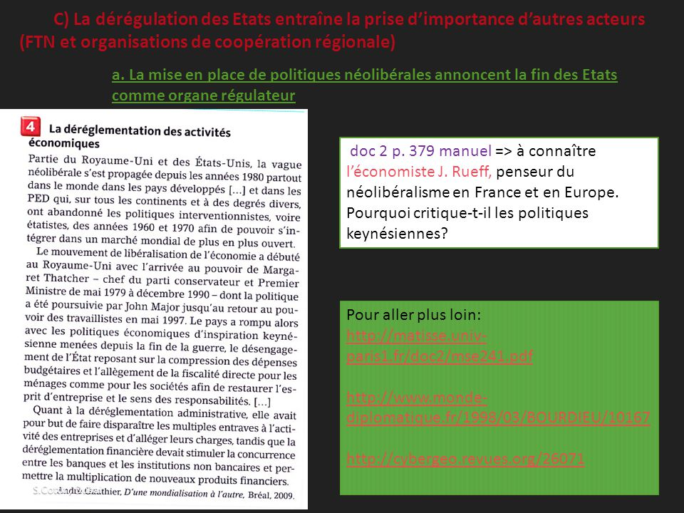 C) La dérégulation des Etats entraîne la prise d'importance d'autres acteurs (FTN et organisations de coopération régionale)