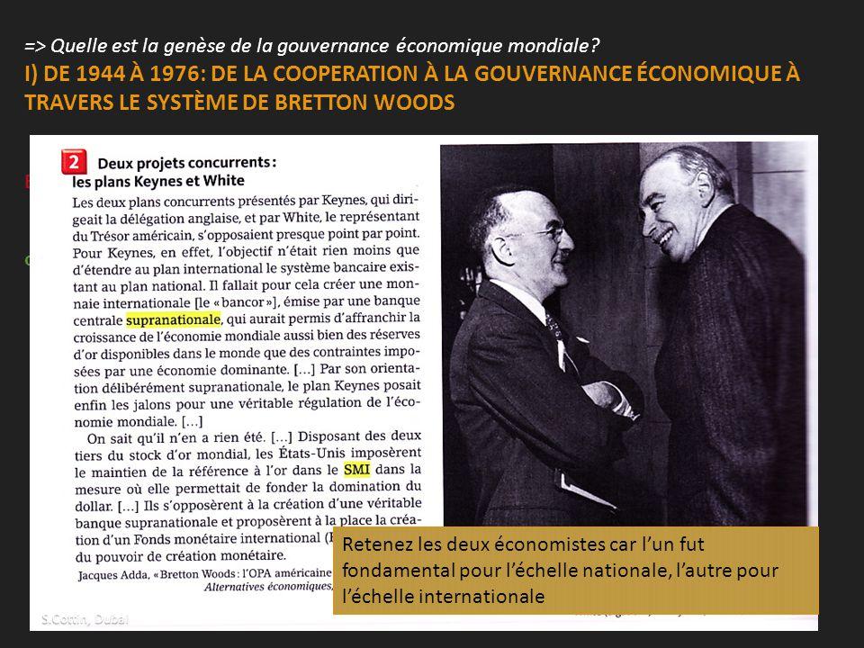 => Quelle est la genèse de la gouvernance économique mondiale