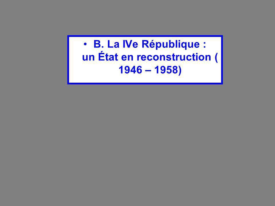 B. La IVe République : un État en reconstruction ( 1946 – 1958)