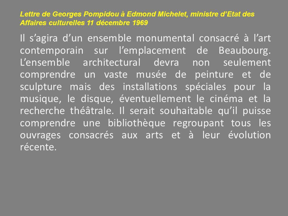 Lettre de Georges Pompidou à Edmond Michelet, ministre d'Etat des Affaires culturelles 11 décembre 1969