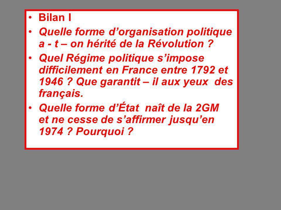 Bilan I Quelle forme d'organisation politique a - t – on hérité de la Révolution