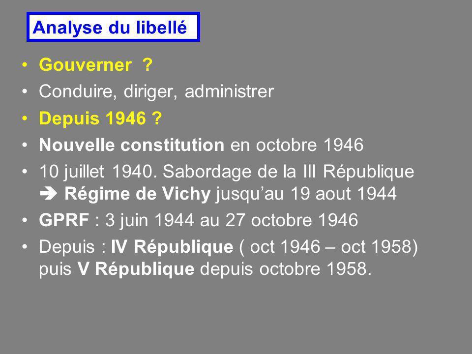 Analyse du libellé Gouverner Conduire, diriger, administrer. Depuis 1946 Nouvelle constitution en octobre 1946.