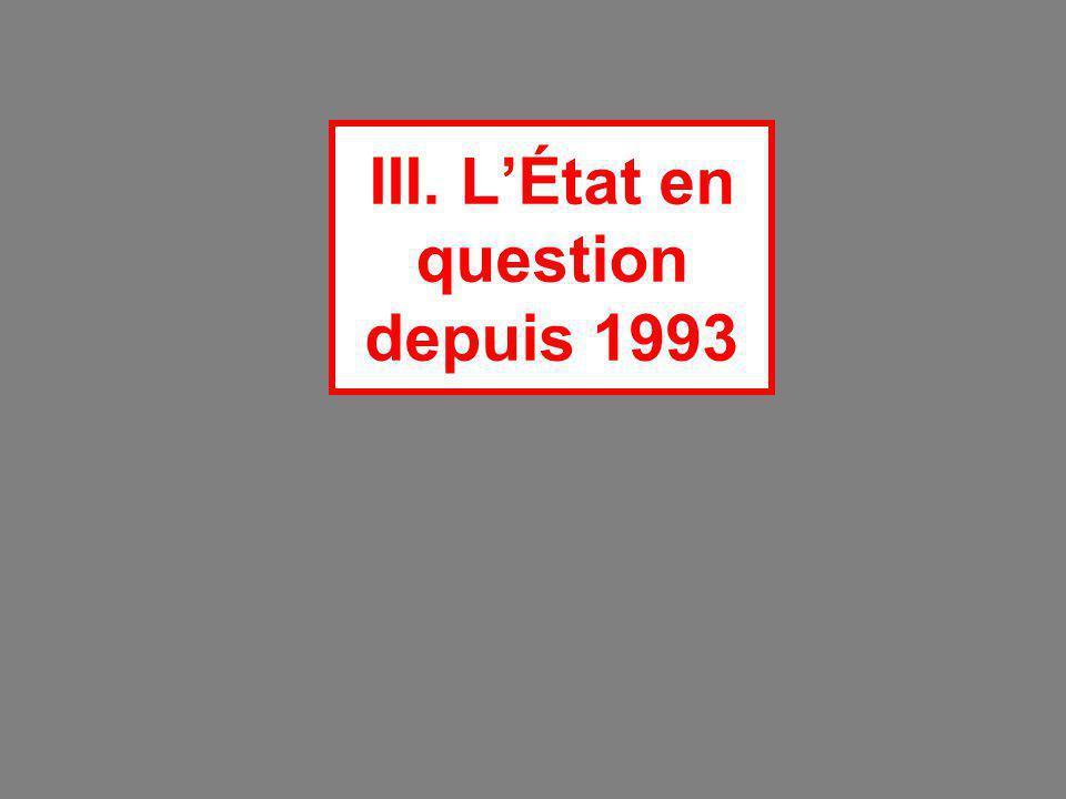 III. L'État en question depuis 1993