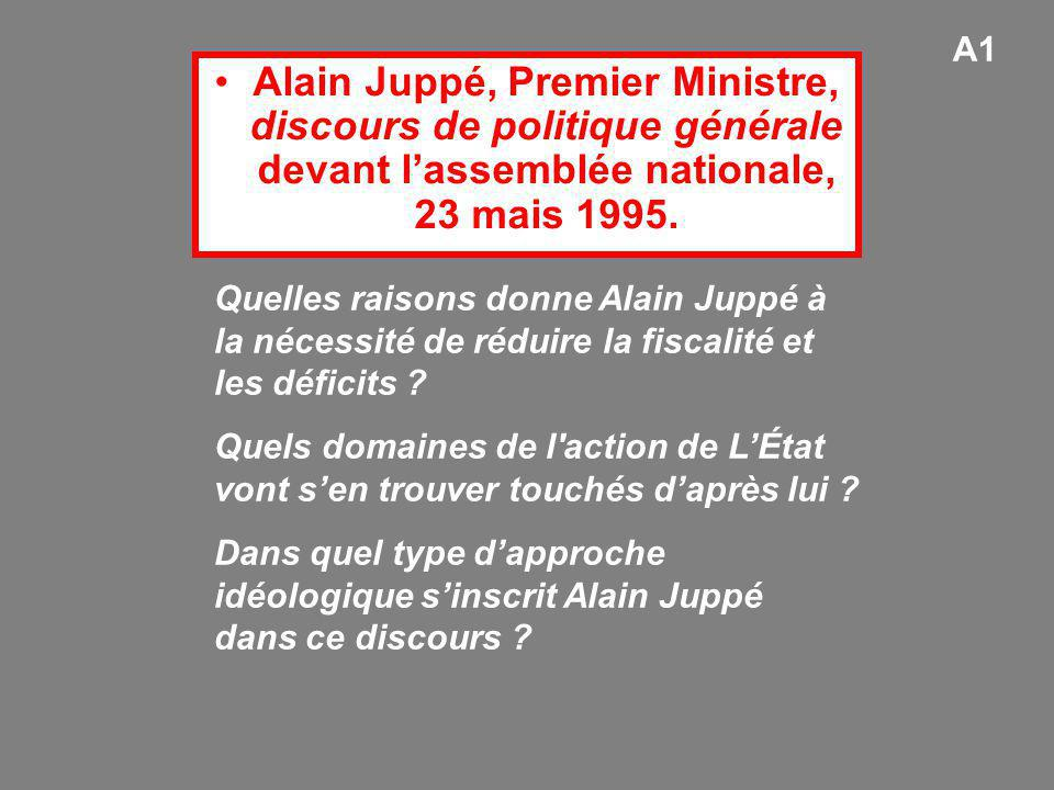 A1 Alain Juppé, Premier Ministre, discours de politique générale devant l'assemblée nationale, 23 mais 1995.