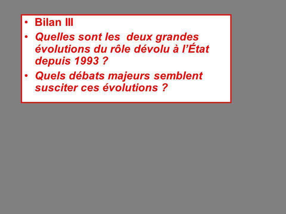 Bilan III Quelles sont les deux grandes évolutions du rôle dévolu à l'État depuis 1993 .