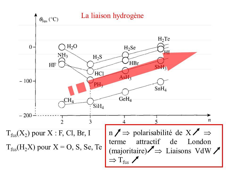 La liaison hydrogène Tfus(X2) pour X : F, Cl, Br, I. n  polarisabilité de X  terme attractif de London (majoritaire)  Liaisons VdW  Tfus.