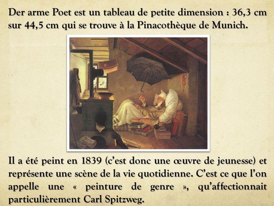 Der arme Poet est un tableau de petite dimension : 36,3 cm sur 44,5 cm qui se trouve à la Pinacothèque de Munich.