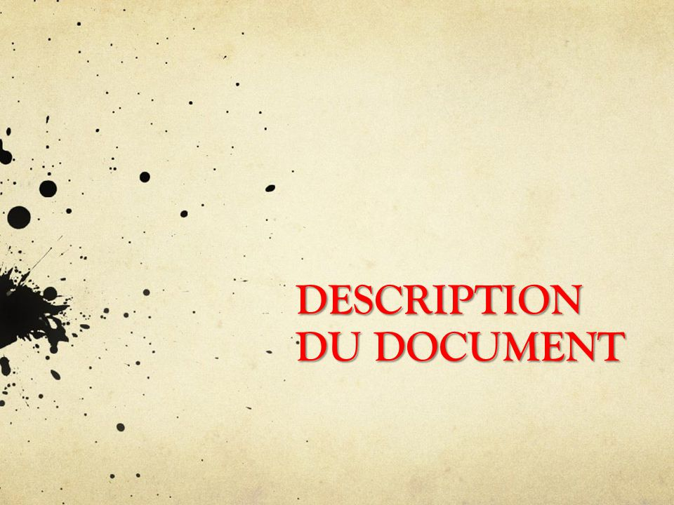 DESCRIPTION DU DOCUMENT