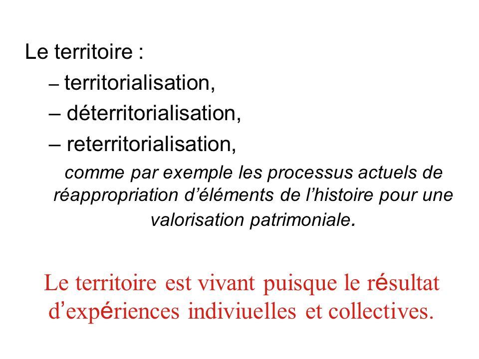 Le territoire : territorialisation, déterritorialisation, reterritorialisation,