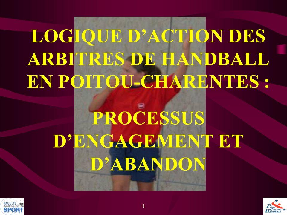 LOGIQUE D'ACTION DES ARBITRES DE HANDBALL EN POITOU-CHARENTES : PROCESSUS D'ENGAGEMENT ET D'ABANDON