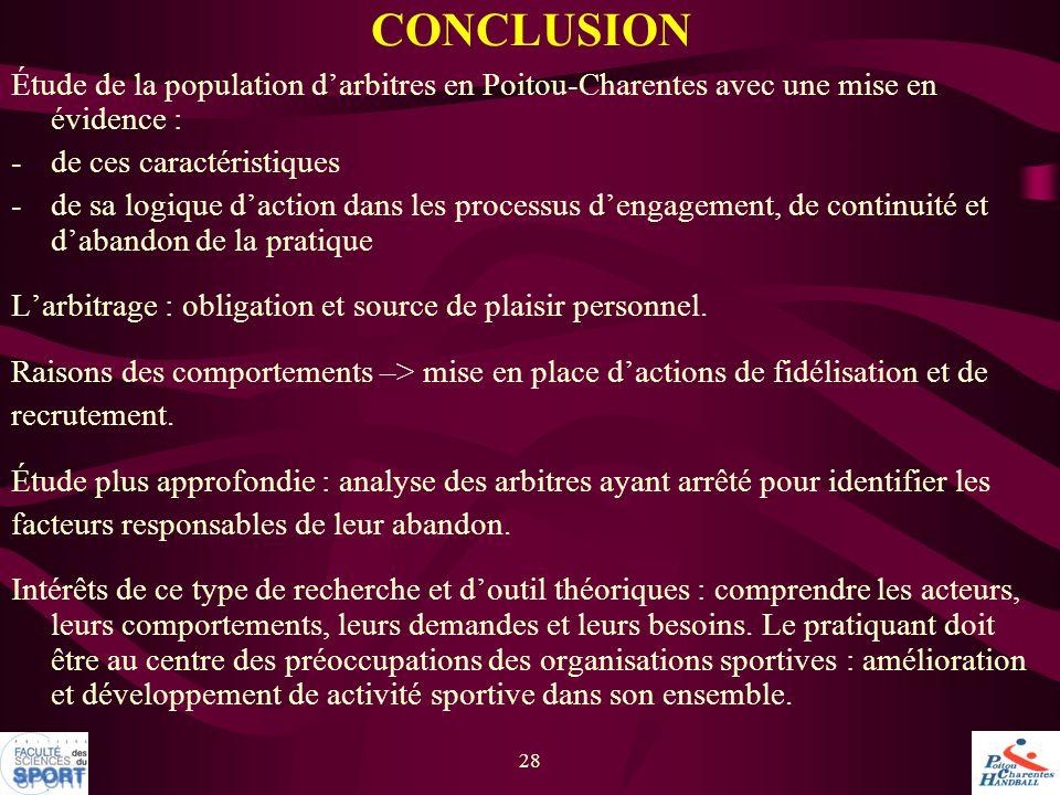 CONCLUSION Étude de la population d'arbitres en Poitou-Charentes avec une mise en évidence : de ces caractéristiques.