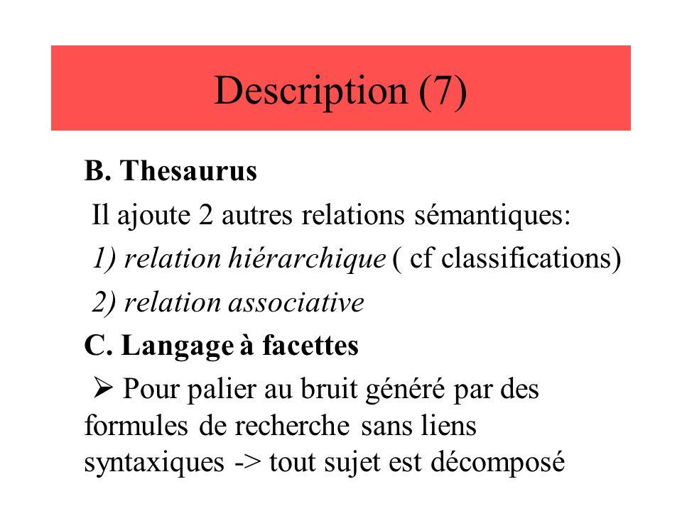 Description (7) B. Thesaurus Il ajoute 2 autres relations sémantiques: