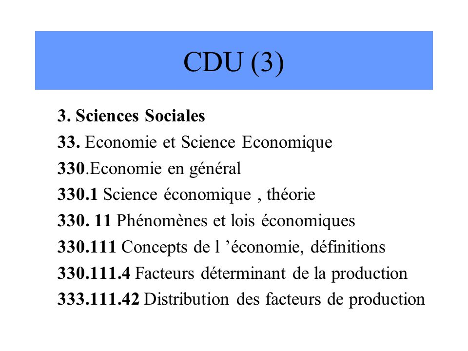 CDU (3) 3. Sciences Sociales 33. Economie et Science Economique