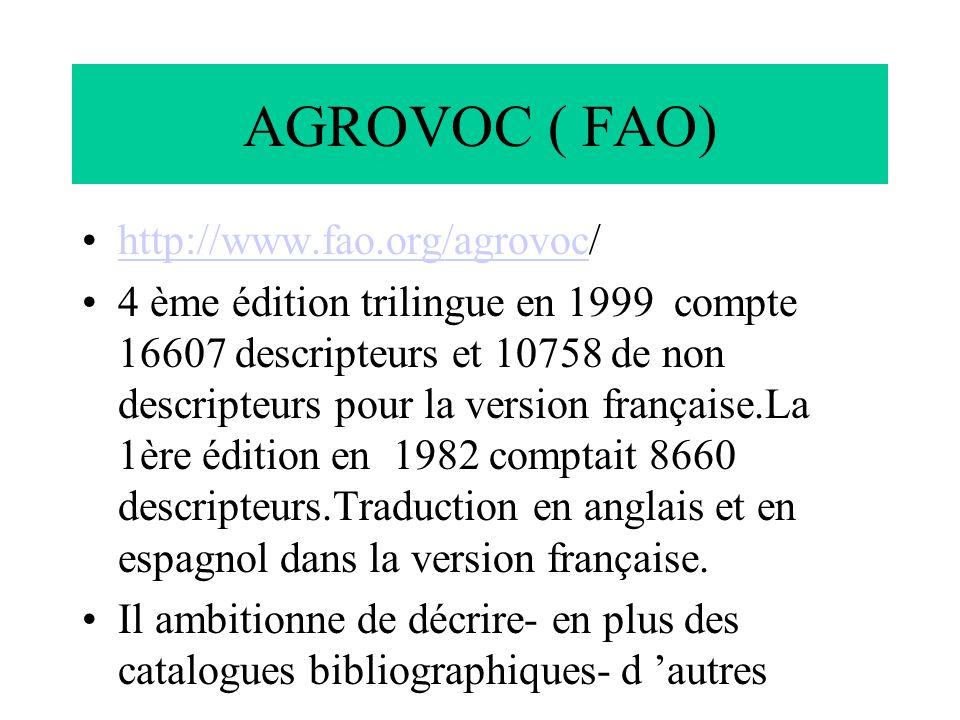 AGROVOC ( FAO) http://www.fao.org/agrovoc/