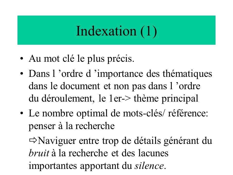 Indexation (1) Au mot clé le plus précis.