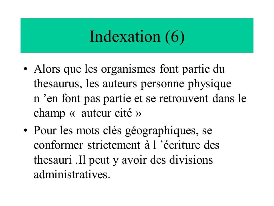 Indexation (6)