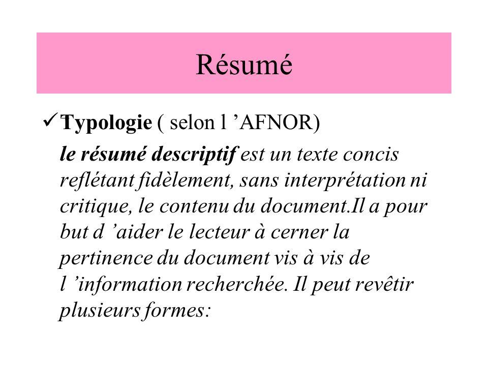 Résumé Typologie ( selon l 'AFNOR)