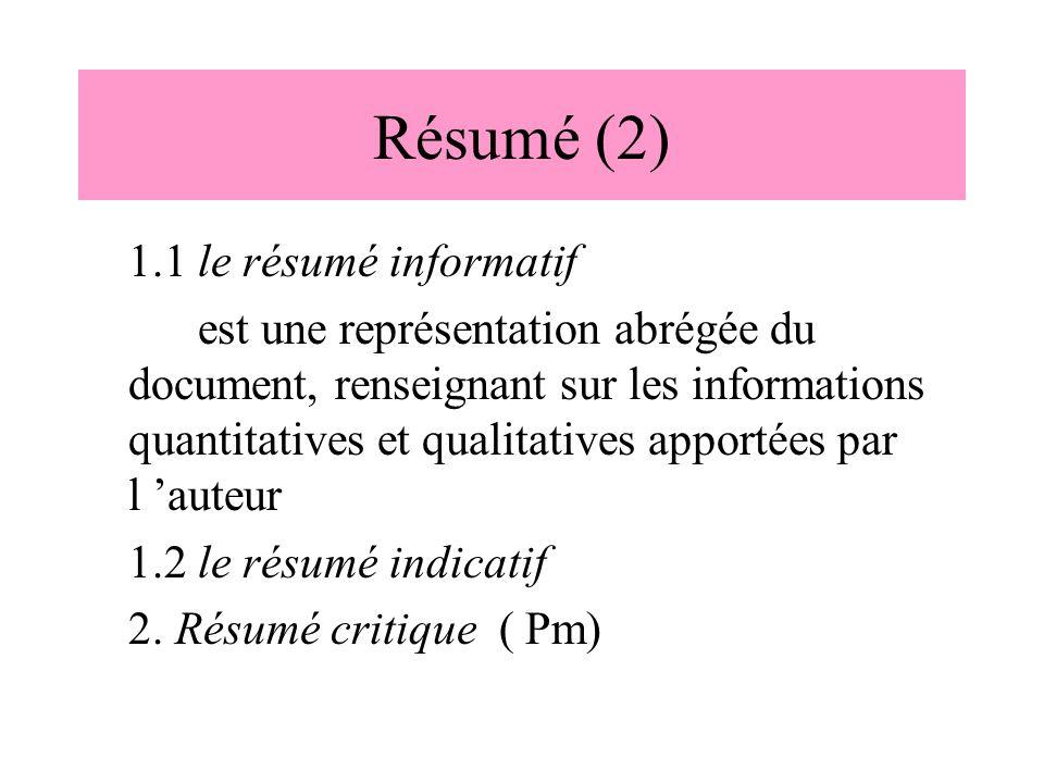 Résumé (2) 1.1 le résumé informatif