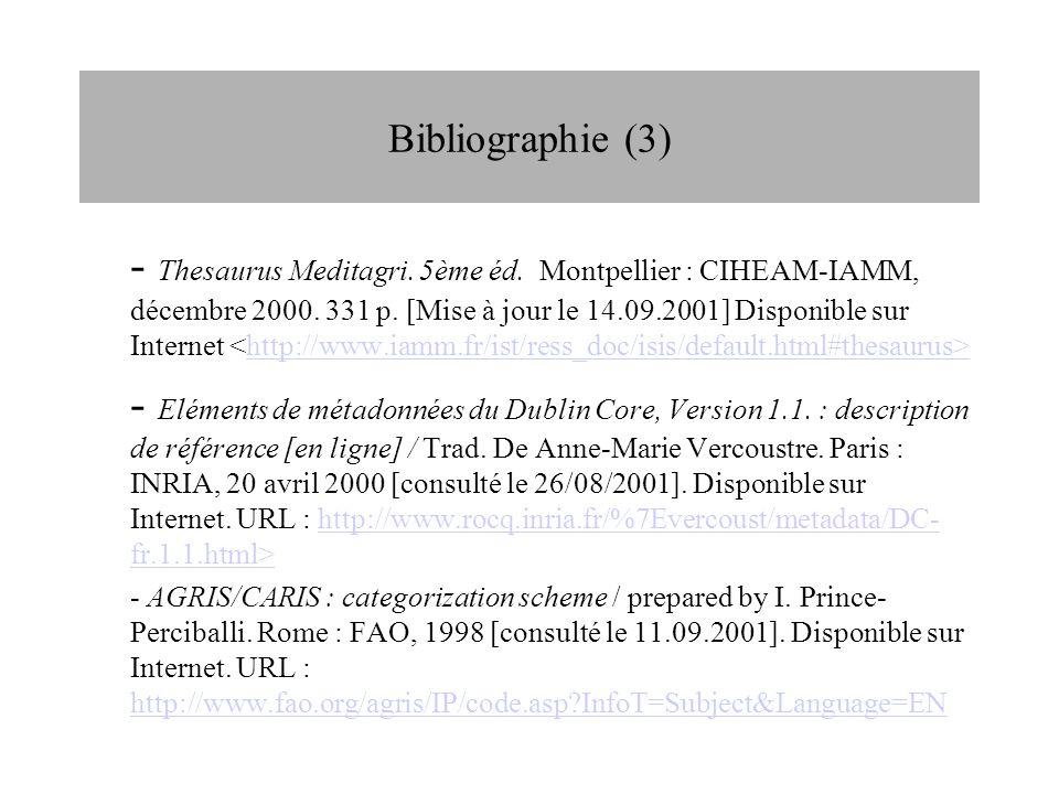 Bibliographie (3)