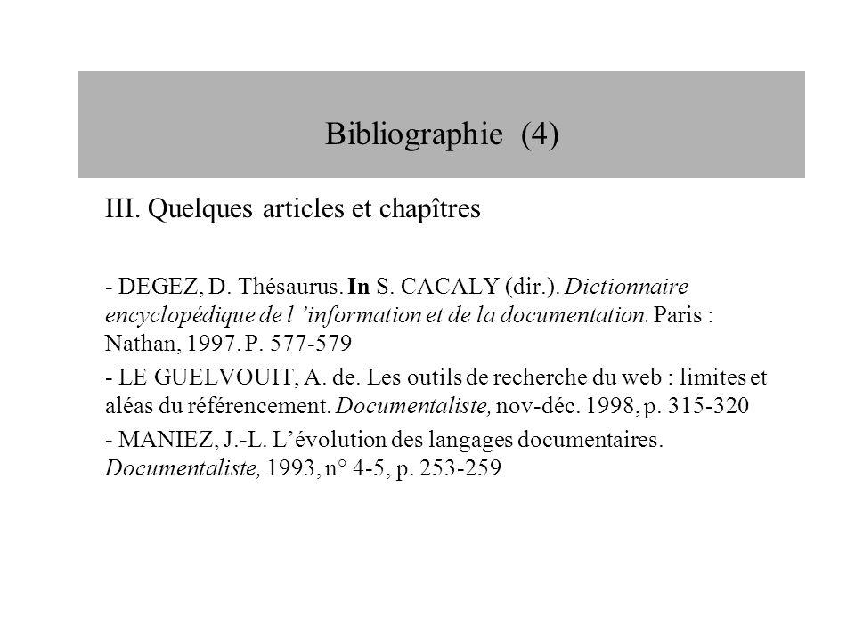 Bibliographie (4) Bibliographie (4)