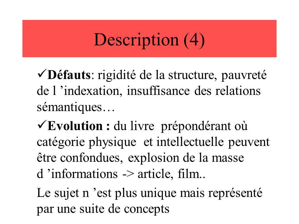 Description (4) Défauts: rigidité de la structure, pauvreté de l 'indexation, insuffisance des relations sémantiques…