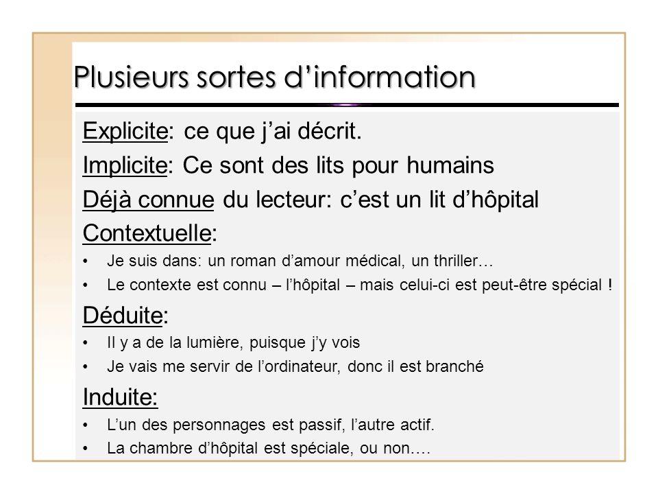 Plusieurs sortes d'information