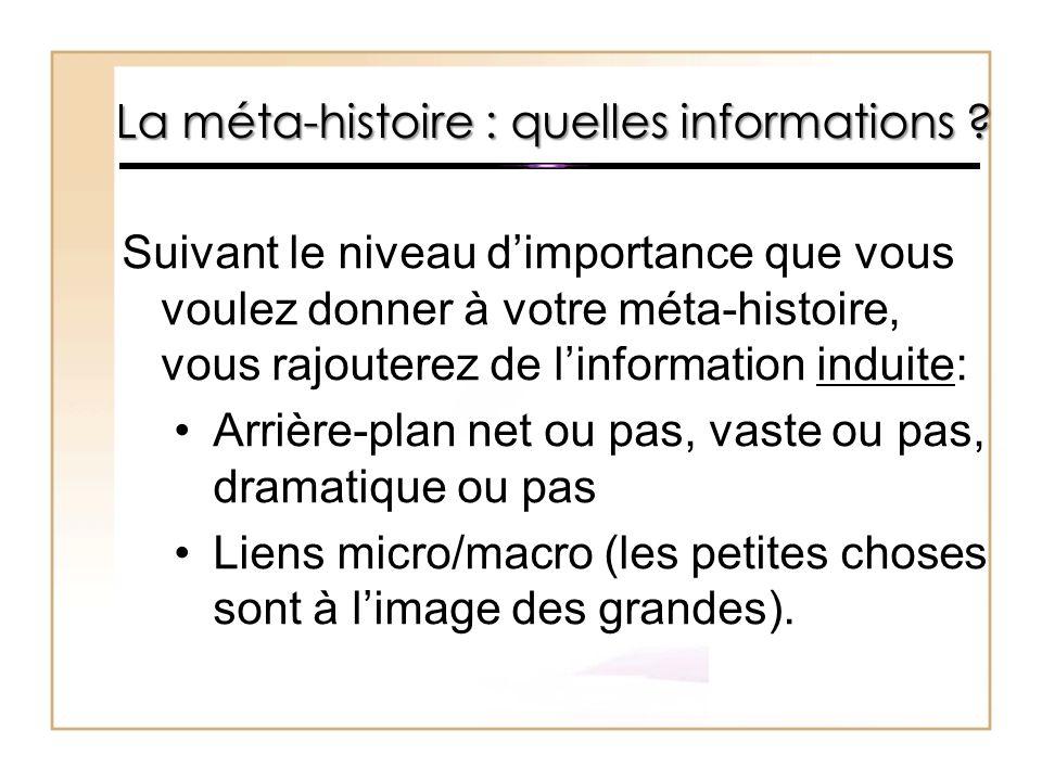 La méta-histoire : quelles informations