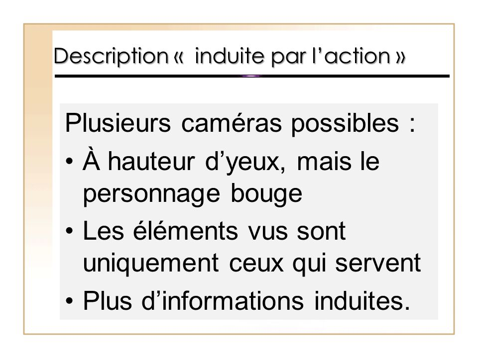 Description « induite par l'action »