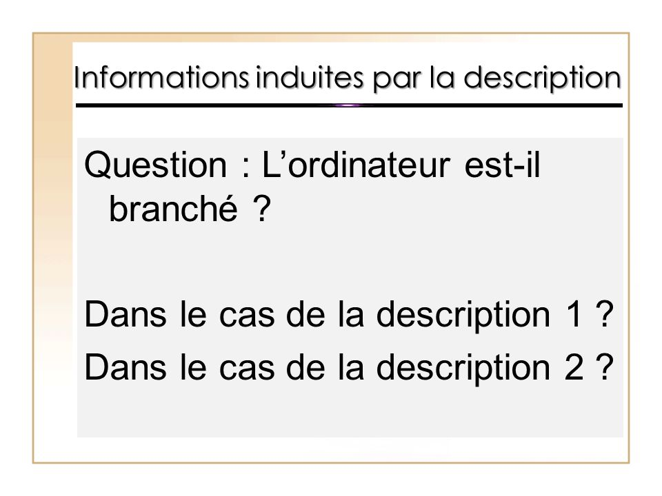 Informations induites par la description