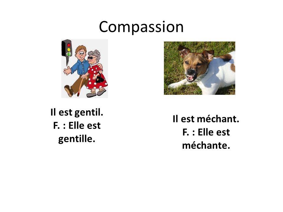 Compassion Il est gentil. F. : Elle est gentille.