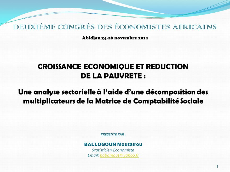 DEUXIÈME CONGRÈS DES ÉCONOMISTES AFRICAINS