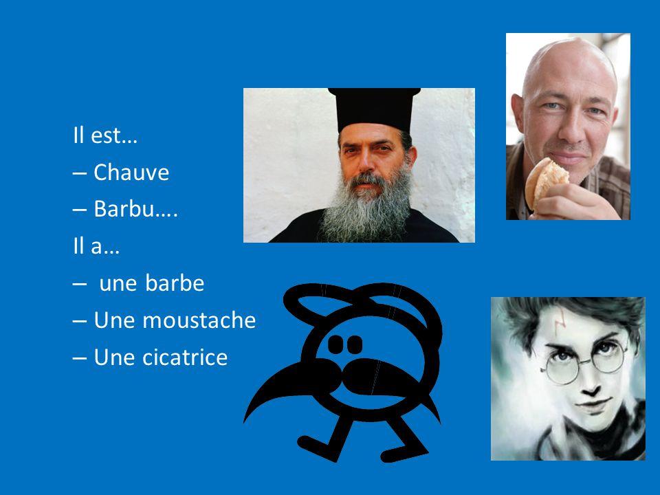 Il est… Chauve Barbu…. Il a… une barbe Une moustache Une cicatrice