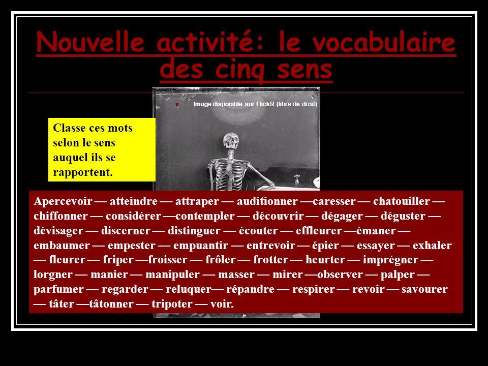 Nouvelle activité: le vocabulaire des cinq sens