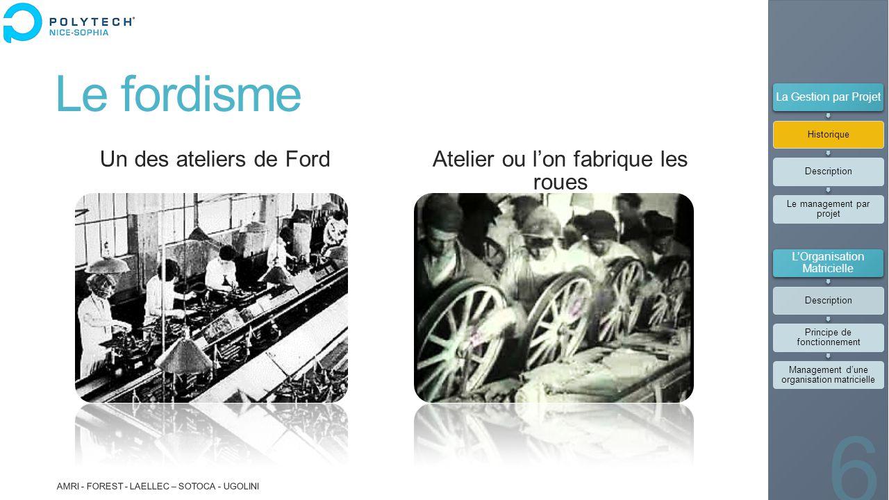 Le fordisme Un des ateliers de Ford Atelier ou l'on fabrique les roues