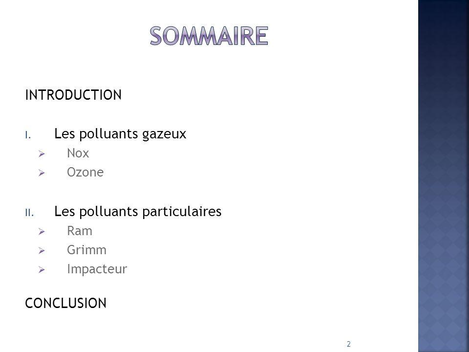 Sommaire INTRODUCTION Les polluants gazeux Les polluants particulaires