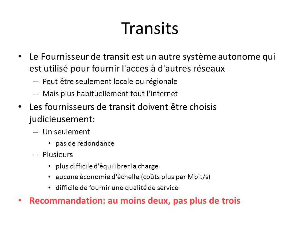 Transits Le Fournisseur de transit est un autre système autonome qui est utilisé pour fournir l acces à d autres réseaux.