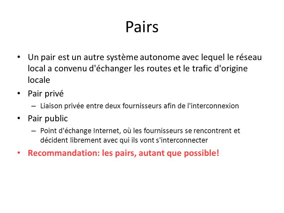 Pairs Un pair est un autre système autonome avec lequel le réseau local a convenu d échanger les routes et le trafic d origine locale.